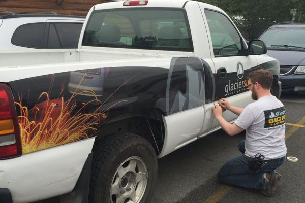 Applying Graphics to Glacier Truck